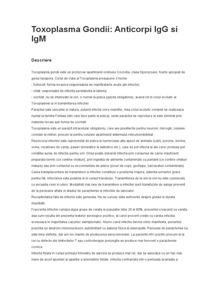 Anticorpi către Toxoplasma gondii, IgG (aviditatea)