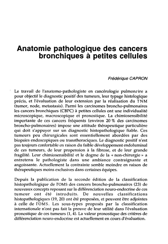 Cancer bronchique neuroendocrine