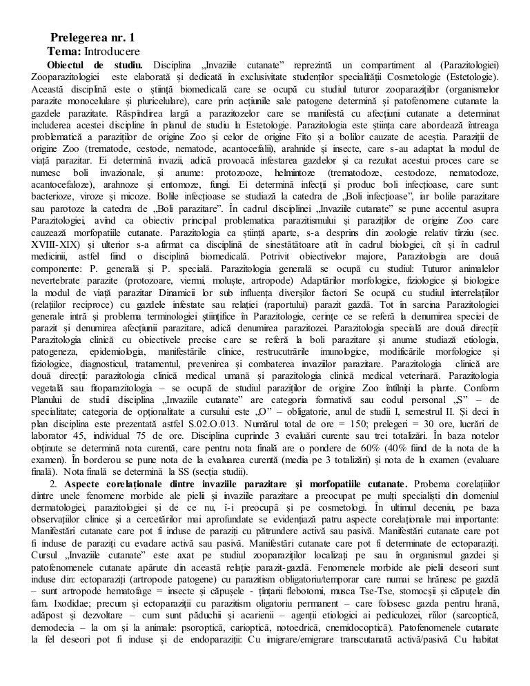 helminth treatment summary paraziti sub piele la om