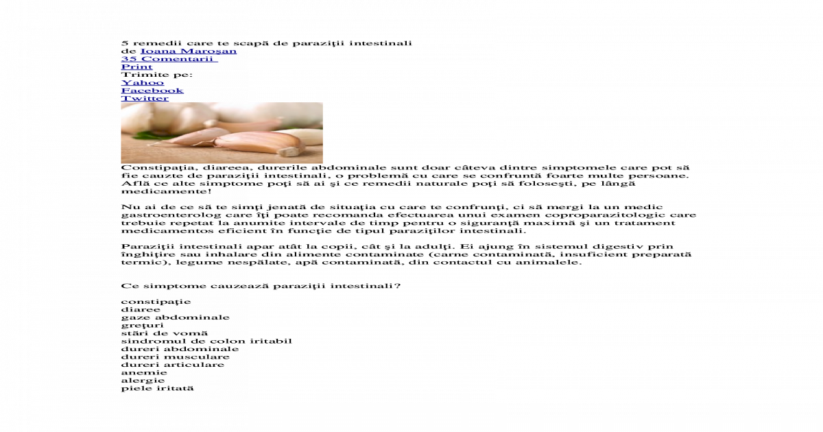 Regim alimentar cand ai oxiuri, Oxiuroza (Enterobioza)