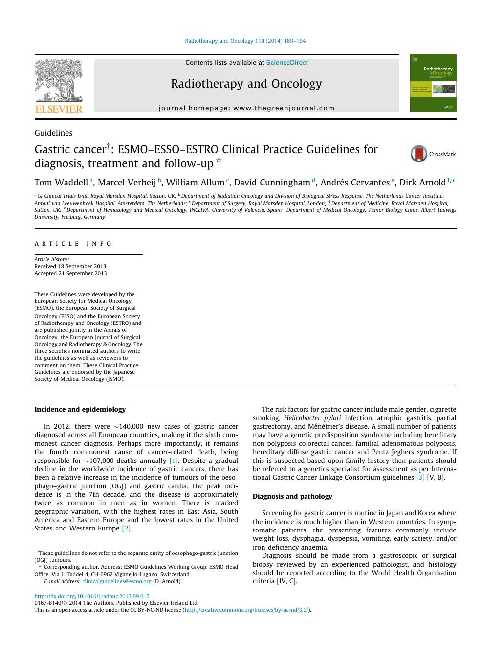 gastric cancer guideline esmo